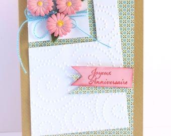 woman, flower bouquet, pink Daisy birthday card