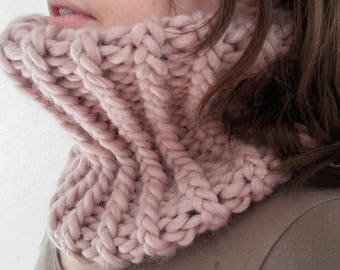 Powder Pink Snood cowl knit alpaca and wool