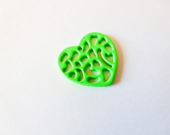 3 heart charms 16 * 18mm Green neon 16 * 18mm (SFBC02)