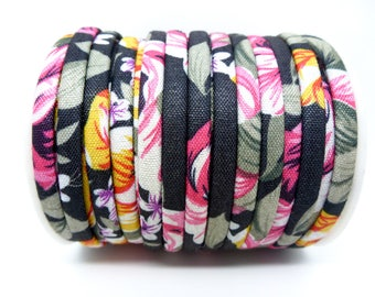 50 cm cord 5mm flat flower on black background (FOCT01) fabric