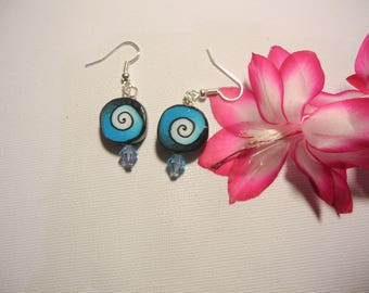 polymerclay blue spiral earrings