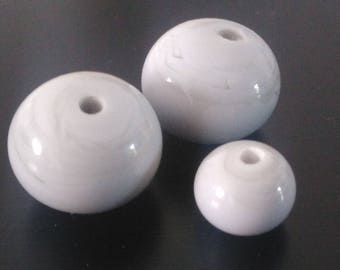 Trio of grey Lampwork Glass Beads