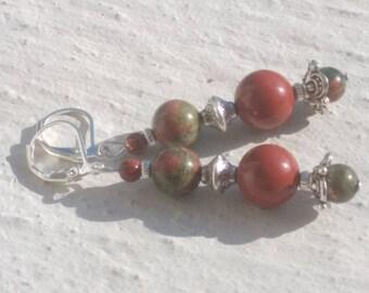 """Silver earrings """"Red Jasper - unakite - Sun stone"""""""