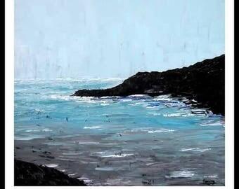 Modern art painting ocean landscape 30x30 /Art moderne peinture paysage ocean