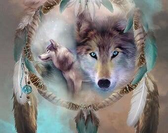 New! Beautiful table pixel art kit model Wolf dream catcher spirit (glue acrylic rhinestones)