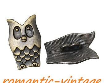 2 buttons 2 holes 16 * 25 mm bronze metal owls