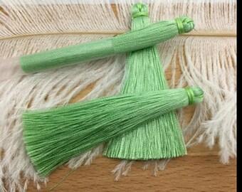 2 large tassels 65mm pastel green color cotton yarn