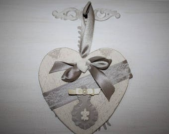 Scented and decorated hanging wooden heart