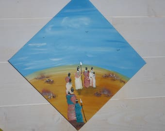"""tribe between sky and sand """"made in ethnic style, original acrylic painting"""