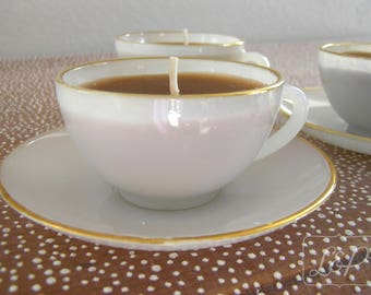 Candle in cup coffee or tea Vintage opal glass ARCOPAL n8