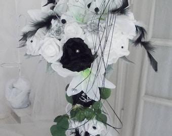 cascade bridal bouquet white and black artificien