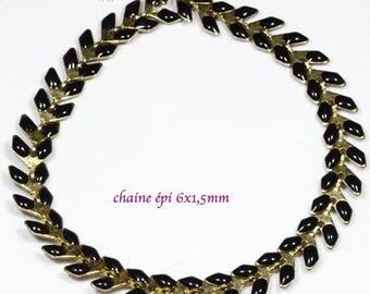 ear chevron x20cm black enamelled brass chain