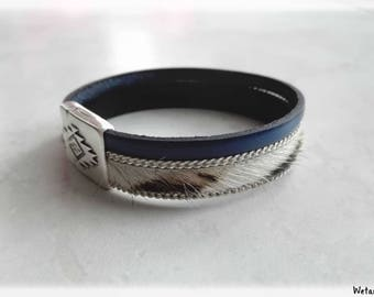 Leather Bracelet women - Zebra chain - leather and electric blue 15 mm magnetic clasp