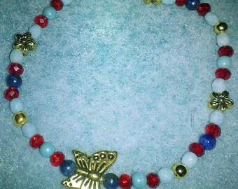 Lapis lazuli, gold Butterfly Bohemian bracelet