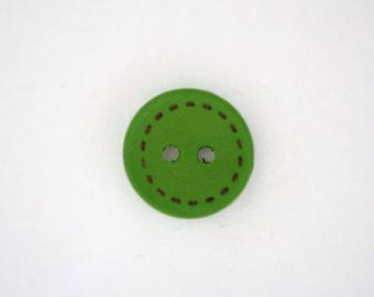 Wood border Point 15 mm x 10 - green - 001801 button