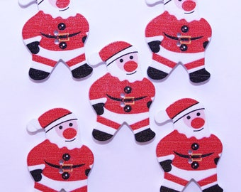 Button Christmas wooden - Santa Claus / Father Christmas 26mm - set of 10 - 2524