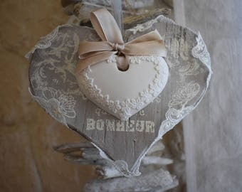 My wooden heart hanging and fine lace