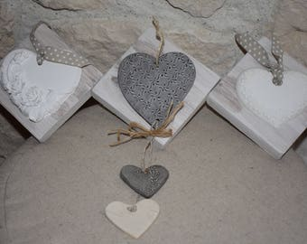My triptych plaster - ceramic hearts to hang