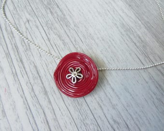 crew neck pendant, Lampwork Glass disc spiral red and Silver flower