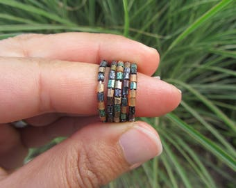 ring 5 rows seed beads irregular iridescent dyed natural and plant Brown, beige, grey and green, multi-row ring
