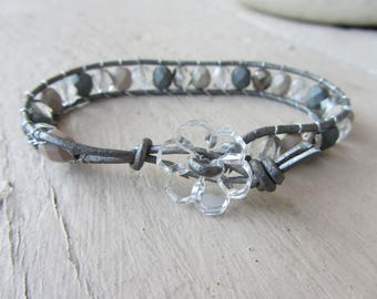 wrap bracelet beads Czech glass faceted shades of gray on silver grey leather cord and translucent glass flower button