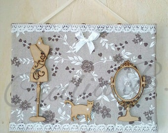 Canvas frame Romantic wooden - fabrics, lace, pearls, bows.