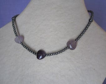 Hematite necklace pearls and Amethyst heart / stone of wisdom and harmony
