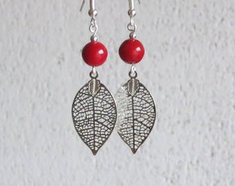 Earrings, red beads and silver leaves, simple and refined jewelry