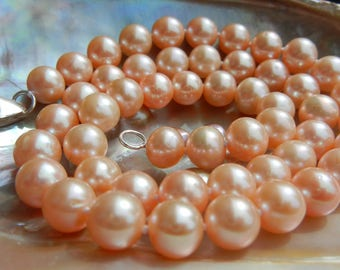 """Cultured Freshwater Pearl Necklace fresh """"peachy"""" (Pink)"""