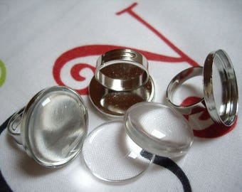 Set of 20 medium ring 25mm silver color tray + glass Cabochon