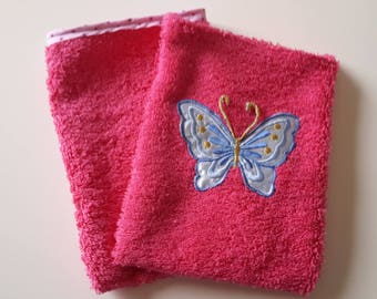 Set of 2 glove sponge Fuchsia. through stars. Motif Butterfly/glove sponge child/bathroom