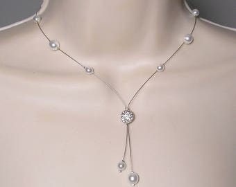 Bridal necklace Pearl White rhinestone - Classic Collection - Marina necklace - wedding party