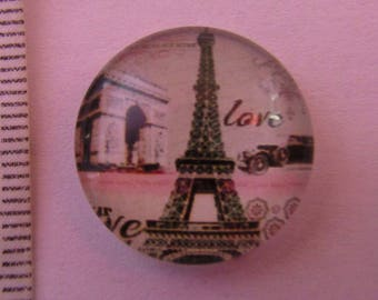 glass cabochon 20mm Paris Eiffel Tower theme Effel