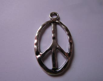 silver pendant peace sign 51mmx29mm