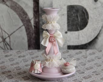 Decorative candle holder Shabby Chic and her 2 little sweets.