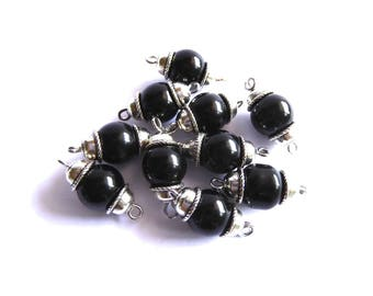 10 black round glass beads ready to assemble