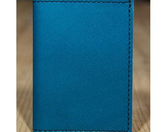 Turquoise blue leather card holder