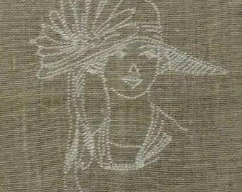 WOMAN WITH HAT FACE EMBROIDERY