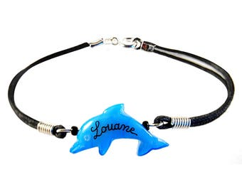 Personalized Dolphin bracelet. Cheap kids gift.