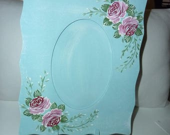 Blue frame with pink flowers decor