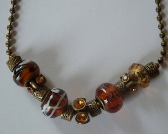 Pandor a amber and bronze style necklace