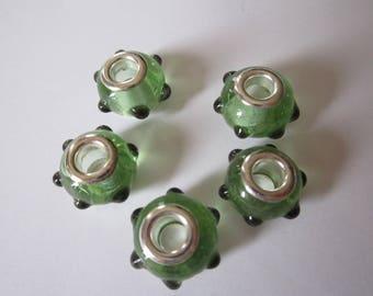 1 Pearl lampwork glass big hole bracelet green dots