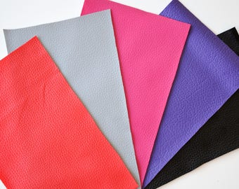 Set of 5 coupons LEATHERETTE 15 * 25cms - 4 colors