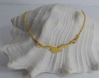Beautiful gold plated sterling silver bracelet with yellow bird/Seagull