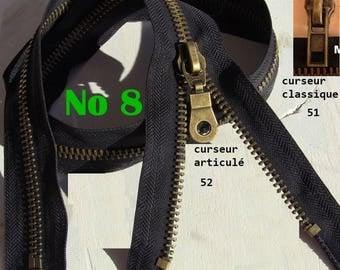 Large separable zipper or not separable zipper mesh Metal Bronze 7.6 mm slider No8 40 cm to 80 cm classic or reversible