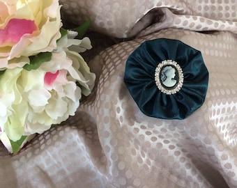 Flower 6 cm Blue raw silk with Cameo