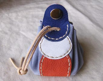 Purse wallet leather fancy blue-white-red handmade