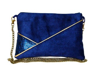 Pouch, bag strap Navy Blue Suede and faux leather glitter gold graphic line