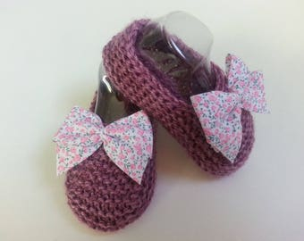 Little feet Heather 0.3 month enhanced with a liberty bow - wool slippers