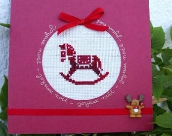 Hand embroidered card: Christmas rocking horse
